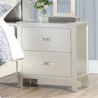 Everly Quinn Triston 2 - Drawer Nightstand in Silver
