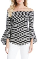 Karen Kane Women's Diamond Print Off The Shoulder Bell Sleeve Top