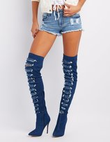 Charlotte Russe Destroyed Denim Over-The-Knee Boots