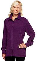 Denim & Co. Stretch Faux Suede Button Front Big Shirt