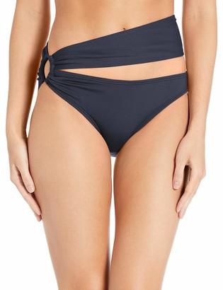 Carmen Marc Valvo Women's Shirred Bikini Bottom Swimsuit with Ring Hardware Detail