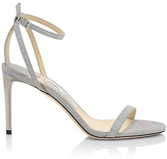 Jimmy Choo Minny Ankle-Strap Glitter Leather Sandals