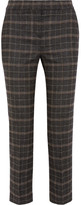 Maje Cropped Checked Stretch-felt Slim-leg Pants - Brown