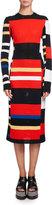 Proenza Schouler Variegated-Stripe Long-Sleeve Crochet Dress, Multi