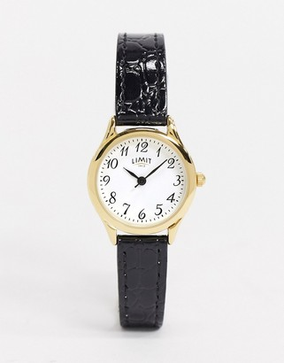 Limit Faux leather watch in black
