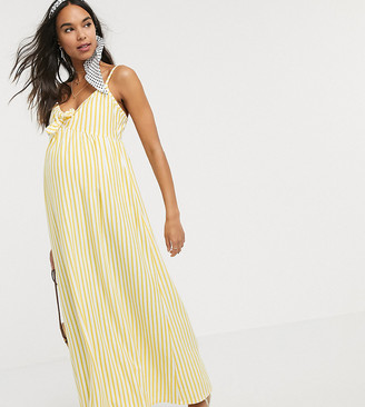 ASOS DESIGN Maternity cami bow front maxi sundress in buttermilk stripe