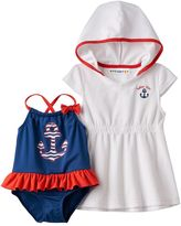 Baby Girl Wippette Anchor One-Piece Swimsuit & French Terry Cover-Up Set