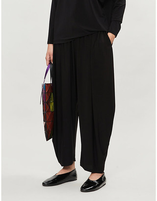 Issey Miyake High-rise stretch-jersey tapered trousers