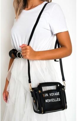Ikrush Pollie Clear Slogan Handbag
