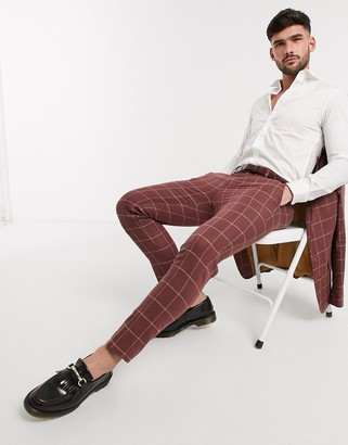 Gianni Feraud red check skinny fit cropped suit pants