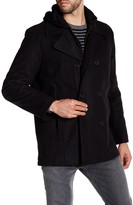 Kenneth Cole New York Contrast Hooded Double Breasted Peacoat