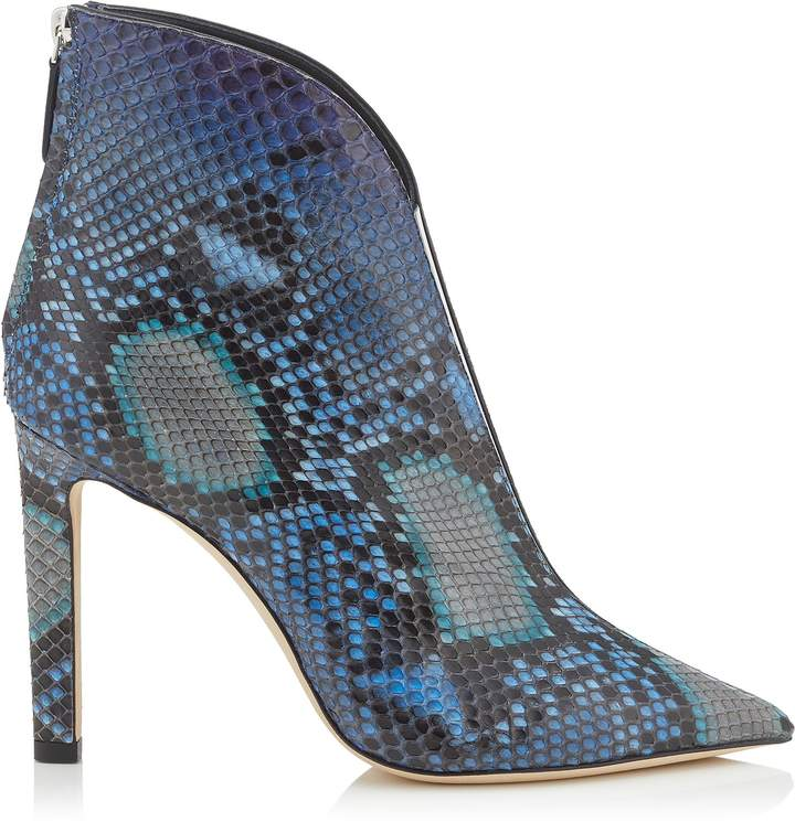 Jimmy Choo BOWIE 100 Sky Mix Degrade Painted Python Pointed Toe Booties with Plexi Insert