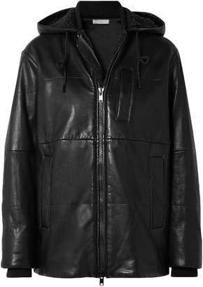 Vince Hooded Shearlig-trimmed Leather Jacket
