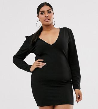 Fashionkilla Plus going out plunge front mini dress in black