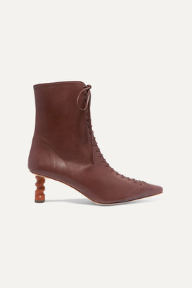 REJINA PYO Simone Leather Ankle Boots - Dark brown