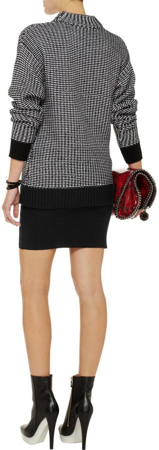 Alexander Wang Suede and wool-blend mini skirt