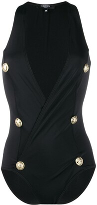 Balmain Decorative Buttons Wrap Swimsuit