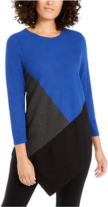 Alfani Petite Colorblocked Asymmetrical Tunic