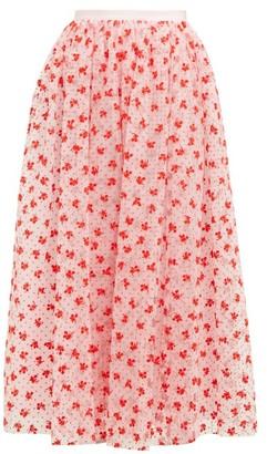 Erdem Lindie Floral-flocked Tulle Maxi Skirt - Pink Multi