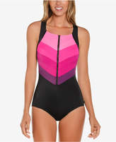 Reebok Flying Printed High-Neck Tummy-Control One-Piece Swimsuit