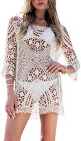 Sarin Mathews Women's Floral Lace Crochet Bikini Swimsuit Cover up Tunic Beachwear Tops Shirts