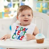 "Mud Pie Today I Eat Cake"" Bib in White"
