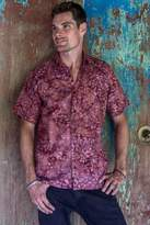 Fair Trade Men's Cotton Batik Shirt in Reds from Bali, 'Light and Shadow'