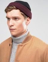 Asos Mini Fisherman With Contrast Turn Up In Burgundy