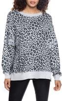 Found Denim Leopard Print Cotton Blend Sweatshirt
