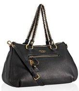 black deerskin chain link large satchel