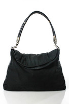 Hogan Black Nylon Leather Silver Tone Detail Single Strap Shoulder Handbag