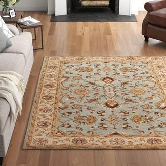 "Three Posts Plemmons Hand-Tufted Wool Stone Blue Area Rug Rug Size: Runner 2'3"" x 14'"