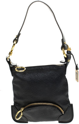 Fendi Black Leather Mini Front Pocket Bag