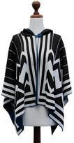 100% alpaca hooded ruana cloak, 'Peru Deco Blue'