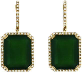 Shay Portrait Green Onyx Drop Earrings - Yellow Gold