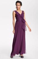 Amsale Ruffle Silk Chiffon Gown