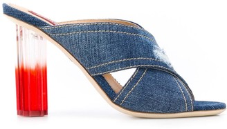 DSQUARED2 Crossover Strap Denim Sandals