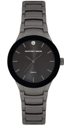 Geoffrey Beene Black Bezel and Dial Genuine Diamond Bracelet Watch