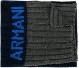 Armani Junior ribbed knit logo scarf