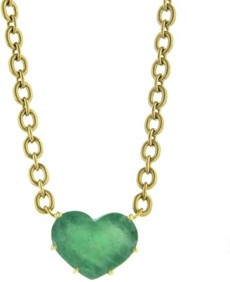 Irene Neuwirth One-Of-A-Kind Emerald Heart Yellow Gold Necklace