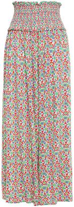 Tory Burch Shirred Printed Woven Wide-leg Pants