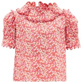 Horror Vacui Imperia Floral-print Cotton Blouse - Womens - Red Multi