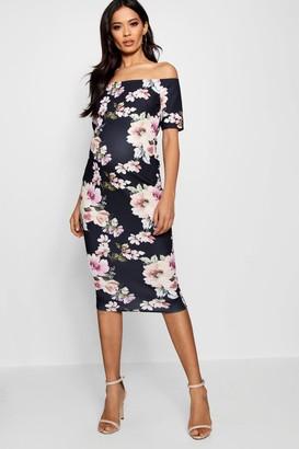boohoo Maternity Bardot Dress With Half Sleeve