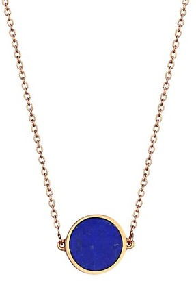 ginette_ny Ever 18K Rose Gold & Lapis Mini Disc Necklace