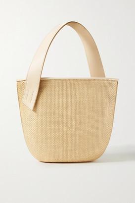 BEIGE Tl 180 TL-180 - Panier Saigon Leather-trimmed Woven Raffia Shoulder Bag