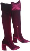 Prada Burgundy Velvet Boots