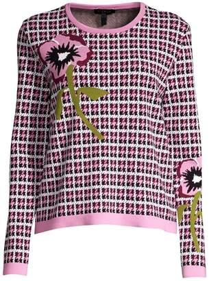 Escada Skara Houndstooth Floral Knit Sweater