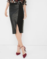 White House Black Market Leather And Suede Pencil Skirt