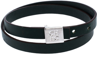 Carolina Herrera CH Green Leather Silver Tone Double Wrap Bracelet