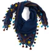 Tory Burch Embroidered Tassel Trim Wool Scarf